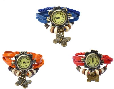 NS18 Vintage Butterfly Rakhi Combo of 4 Black, Yellow, Orange And Red Watch  - For Women