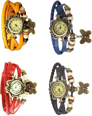 NS18 Vintage Butterfly Rakhi Combo of 4 Yellow, Red, Blue And Black Watch  - For Women
