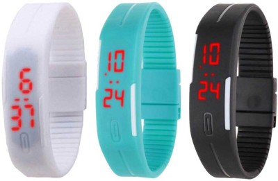 NS18 Silicone Led Magnet Band Combo of 3 White, Sky Blue And Black Watch  - For Boys & Girls