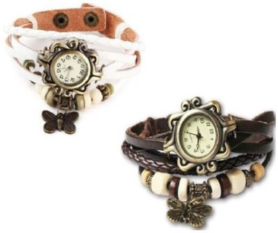 RSN Vintage Butter fly white-brown Analog Watch  - For Girls
