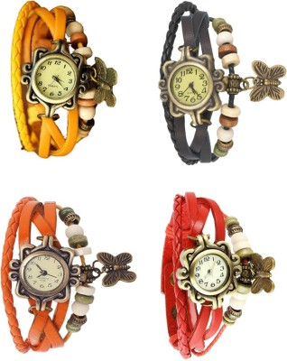 NS18 Vintage Butterfly Rakhi Combo of 4 Yellow, Orange, Black And Red Watch  - For Women