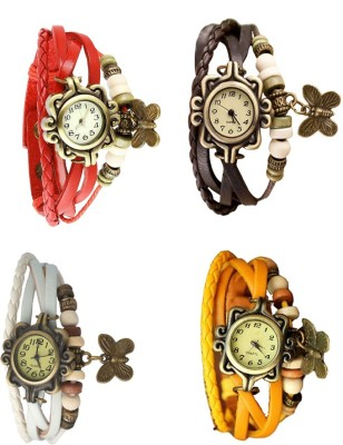 NS18 Vintage Butterfly Rakhi Combo of 4 Red, White, Brown And Yellow Watch  - For Women