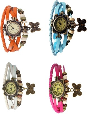 NS18 Vintage Butterfly Rakhi Combo of 4 Orange, White, Sky Blue And Pink Watch  - For Women