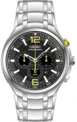 Seiko SSC449 Stainless Steel Chronograph Black Dial Men's Watch
