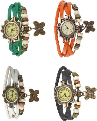 Kissu Vintage Rakhi Combo of 4 Green, White, Orange And Black Watch  - For Women