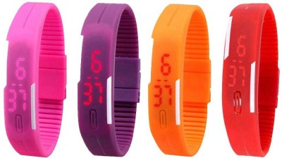 NS18 Silicone Led Magnet Band Watch Combo of 4 Red, Pink, Orange And Purple Watch  - For Couple