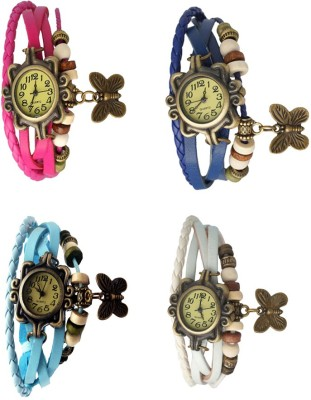 NS18 Vintage Butterfly Rakhi Combo of 4 White, Pink, Sky Blue And Orange Watch  - For Women