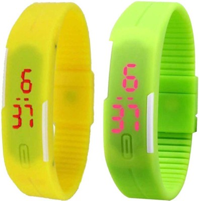 Twok Combo of Led Band Blue + Green + Yellow Watch  - For Men & Women