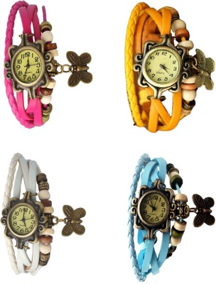 Meher Collection Stylish Combo of 4 Rakhi/Butterfly Watches for-Girl
