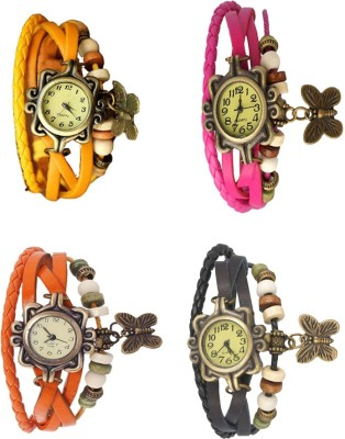 NS18 Vintage Butterfly Rakhi Combo of 4 Yellow, Orange, Pink And Black Watch  - For Women