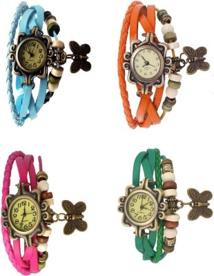 NS18 Vintage Butterfly Rakhi Combo of 4 Sky Blue, Pink, Orange And Green Watch  - For Women