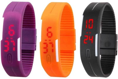 RSN Silicone Led Magnet Band Combo of 3 Purple, Orange And Black Watch  - For Men & Women