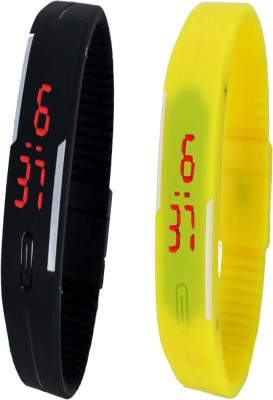 Twok Combo of Led Band Black + Yellow Watch  - For Men & Women
