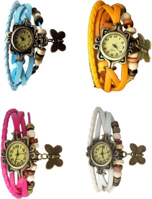 NS18 Vintage Butterfly Rakhi Combo of 4 Purple, Sky Blue, Pink And White Watch  - For Women