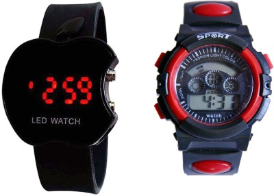 COSMIC RED DUAL TIME SSHOCK AND BLACK APPLE LED WATCH FOR BOYS AND MEN Watch  - For Men