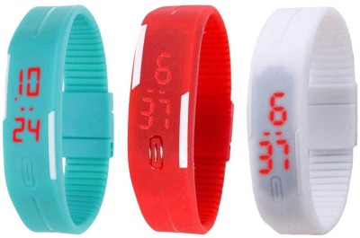 NS18 Silicone Led Magnet Band Combo of 3 Sky Blue, Red And White Watch  - For Boys & Girls