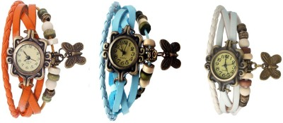 Kissu Vintage Rakhi Combo of 3 Orange, Sky Blue And White Watch  - For Women