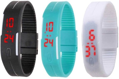 NS18 Silicone Led Magnet Band Combo of 3 Sky Blue, White And Black Watch  - For Boys & Girls