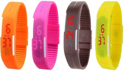 NS18 Silicone Led Magnet Band Combo of 4 Yellow, Orange, Pink And Brown Watch  - For Boys & Girls