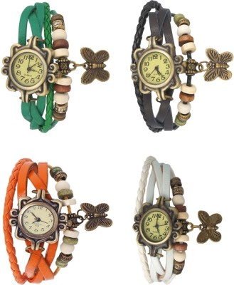 Kissu Vintage Rakhi Combo of 4 Green, Orange, Black And White Watch  - For Women