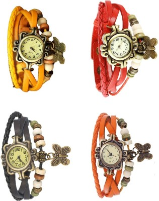 NS18 Vintage Butterfly Rakhi Combo of 4 Yellow, Black, Red And Orange Watch  - For Women