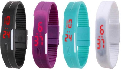 NS18 Silicone Led Magnet Band Combo of 4 Black, Purple, Sky Blue And White Watch  - For Boys & Girls