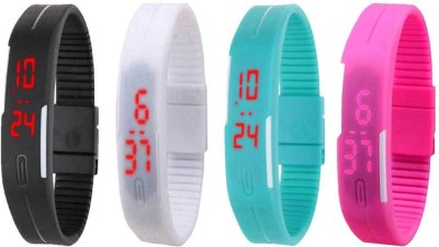 NS18 Silicone Led Magnet Band Watch Combo of 4 Sky Blue, Pink, Black And Red Watch  - For Couple