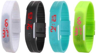 NS18 Silicone Led Magnet Band Combo of 4 White, Black, Sky Blue And Green Watch  - For Boys & Girls
