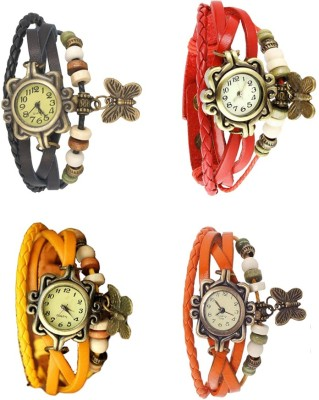 NS18 Vintage Butterfly Rakhi Combo of 4 Black, Yellow, Red And Orange Watch  - For Women