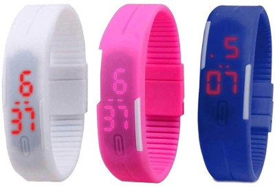 RSN Silicone Led Magnet Band Combo of 3 White, Pink And Blue Watch  - For Men & Women