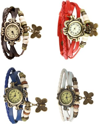 NS18 Vintage Butterfly Rakhi Combo of 4 Brown, Blue, Red And White Watch  - For Women