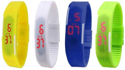 Kissu Led Magnet Band Combo of 4 Yellow, White, Blue And Green Watch  - For Men & Women