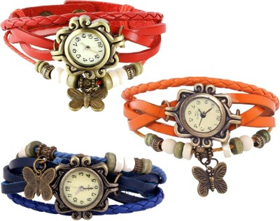 YD Combo of 3 VB-310 Vintage Butterfly Watch  - For Women