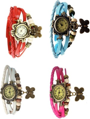 NS18 Vintage Butterfly Rakhi Combo of 4 Red, White, Sky Blue And Pink Watch  - For Women
