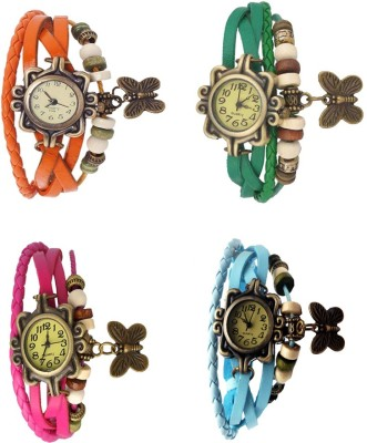NS18 Vintage Butterfly Rakhi Combo of 4 Orange, Pink, Green And Sky Blue Watch  - For Women