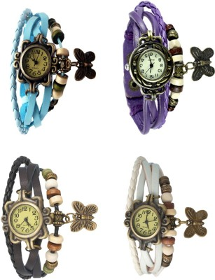 NS18 Vintage Butterfly Rakhi Combo of 4 Sky Blue, Black, Purple And White Watch  - For Women