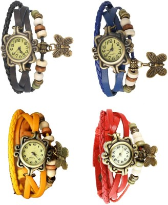 NS18 Vintage Butterfly Rakhi Combo of 4 Black, Yellow, Blue And Red Watch  - For Women