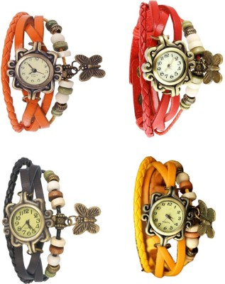 NS18 Vintage Butterfly Rakhi Combo of 4 Orange, Red, Black And Yellow Watch  - For Women