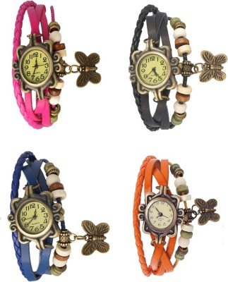 NS18 Vintage Butterfly Rakhi Combo of 4 Pink, Blue, Black And Orange Watch  - For Women