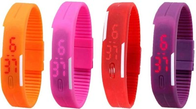 NS18 Silicone Led Magnet Band Watch Combo of 4 Orange, Pink, Red And Purple Watch  - For Couple