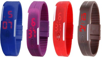 Kissu Led Magnet Band Combo of 4 Purple, Red, Blue And Brown Watch  - For Men & Women