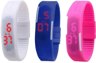 Kissu Led Band Watch Combo of 3 White, Blue And Pink Watch  - For Couple