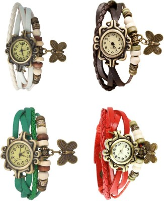 NS18 Vintage Butterfly Rakhi Combo of 4 Purple, White, Red And Brown Watch  - For Women