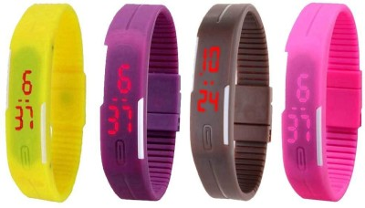 NS18 Silicone Led Magnet Band Combo of 4 Yellow, Purple, Brown And Pink Watch  - For Boys & Girls
