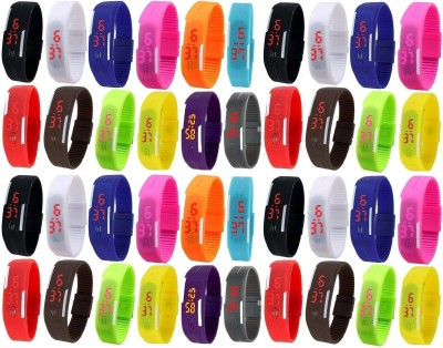 Pappi Boss JUMBO PACK Unisex Multicolor Set of 40 Rubber Jelly Slim Silicone Sports Led Smart Band Digital Watch  - For Men & Women