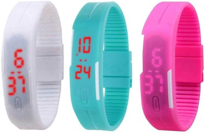 NS18 Silicone Led Magnet Band Combo of 3 White, Blue And Pink Watch  - For Boys & Girls
