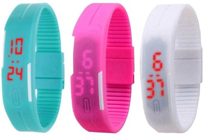 Kissu Led Band Watch Combo of 3 Sky Blue, Pink And White Watch  - For Couple