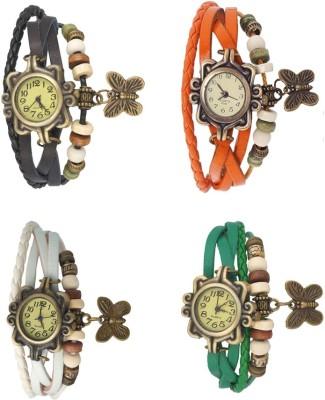 Kissu Vintage Rakhi Combo of 4 Green, White, Black And Orange Watch  - For Women