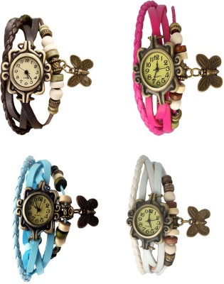 NS18 Vintage Butterfly Rakhi Combo of 4 Brown, Sky Blue, Pink And White Watch  - For Women