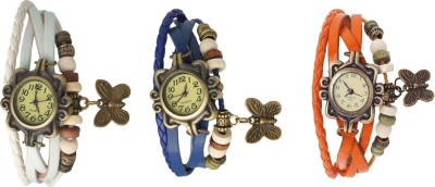 Kissu Vintage Rakhi Watch Combo of 3 White, Blue And Orange Watch  - For Women
